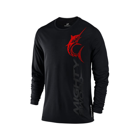 SportyFish Black Series black Long-sleeves t-shirt: Black Marlin front view