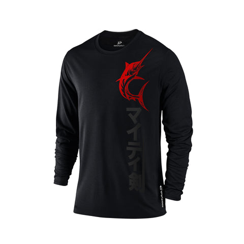 SportyFish Black Series Long-sleeves T-shirt(front view): Black Marlin(In Japanese Words)