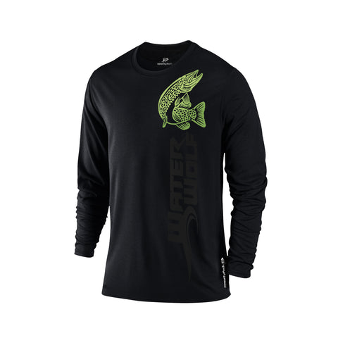 SportyFish Black Series black long-sleeves t-shirt: Northern Pike front view