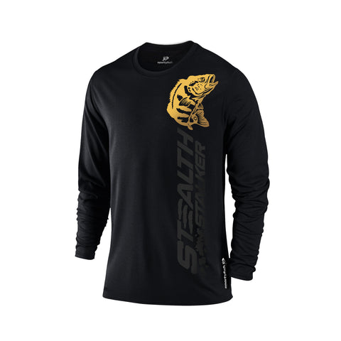 SportyFish Black Series black Long-sleeves t-shirt: Peacock Bass front view