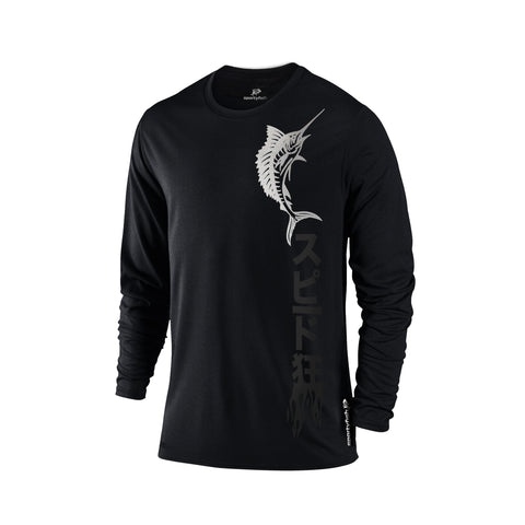 SportyFish Black Series Long-sleeves T-shirt(front view): Atlantic Sailfish(In Japanese Words)