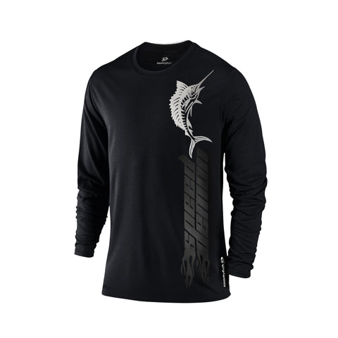 SportyFish Black Series black Long-sleeves t-shirt: Atlantic Sailfish front view