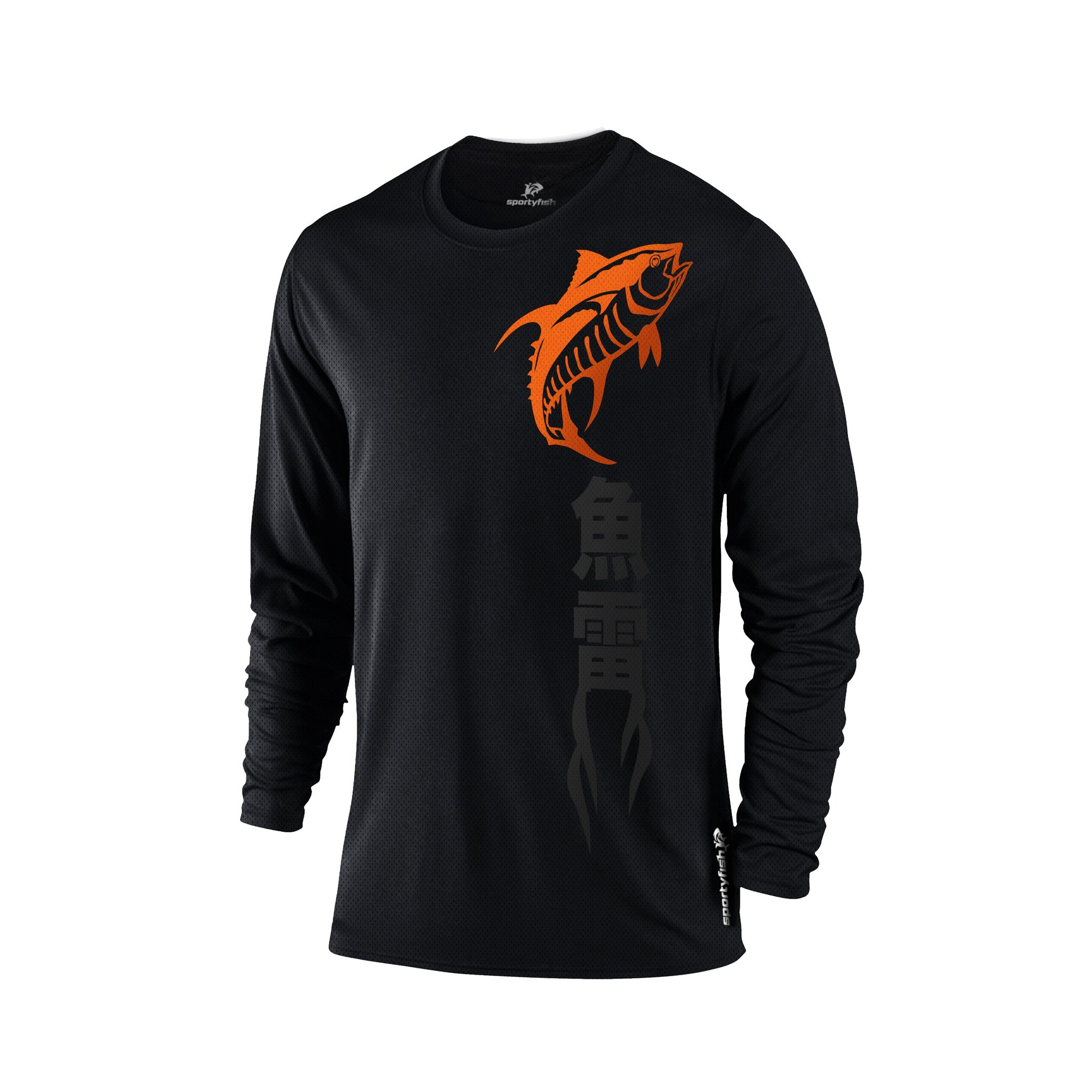 SportyFish Black Series Long-sleeves T-shirt(front view): Yellowfin Tuna(In Japanese words)