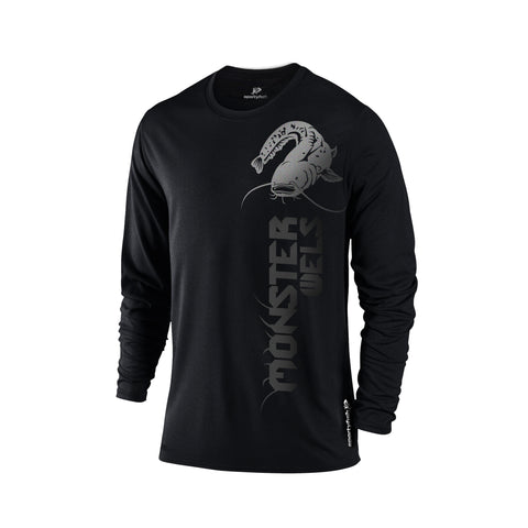 SportyFish Black Series black Long-sleeves t-shirt: Wels Catfish front view