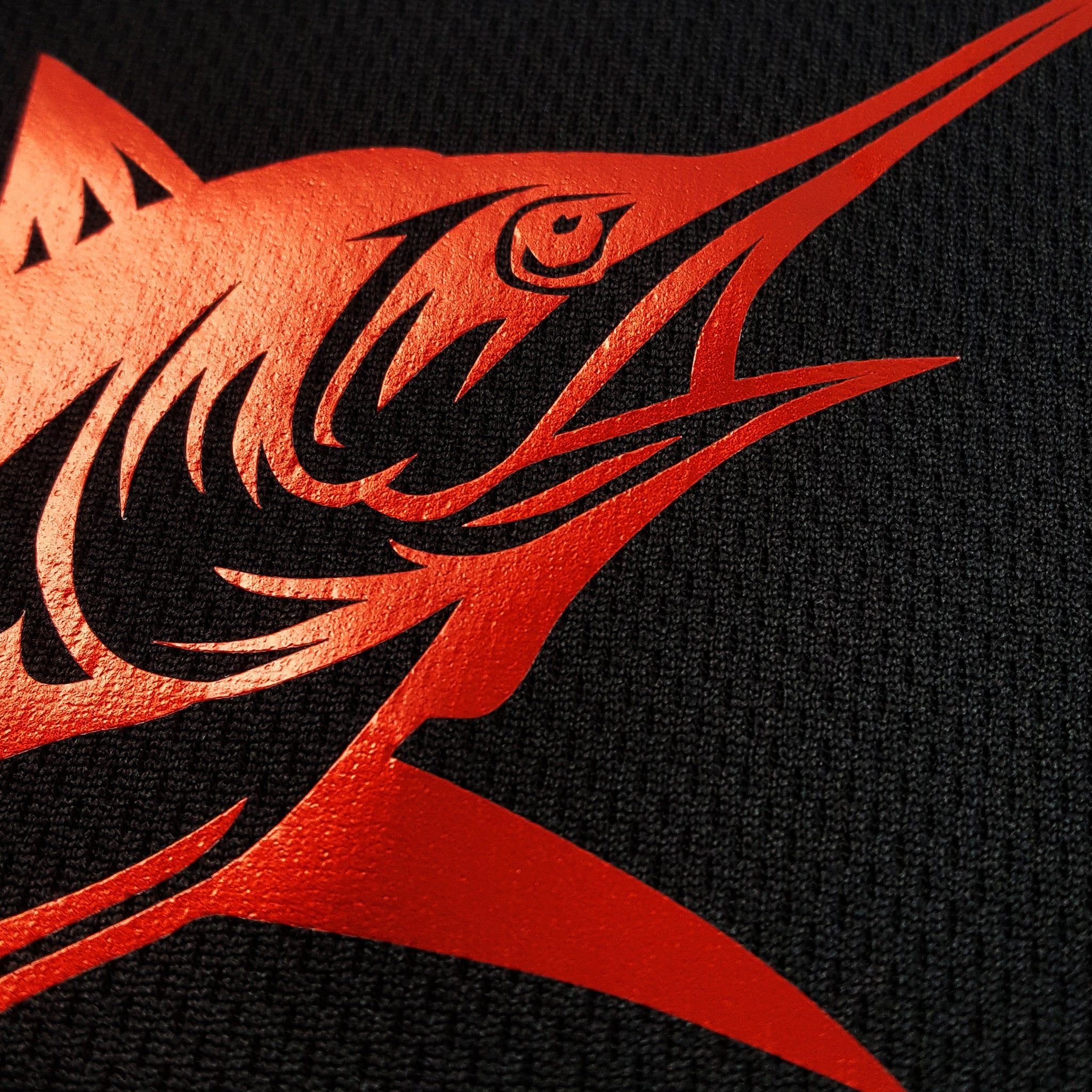 SportyFish Black Series black t-shirt: Black marlin close-up view