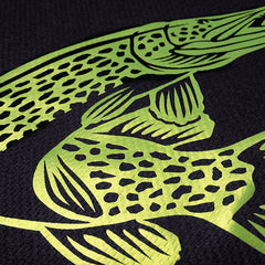 SportyFish Black Series black long-sleeves t-shirt: Northern Pike close-up view