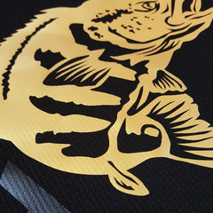 SportyFish Black Series black Long-sleeves t-shirt: Peacock Bass close-up view