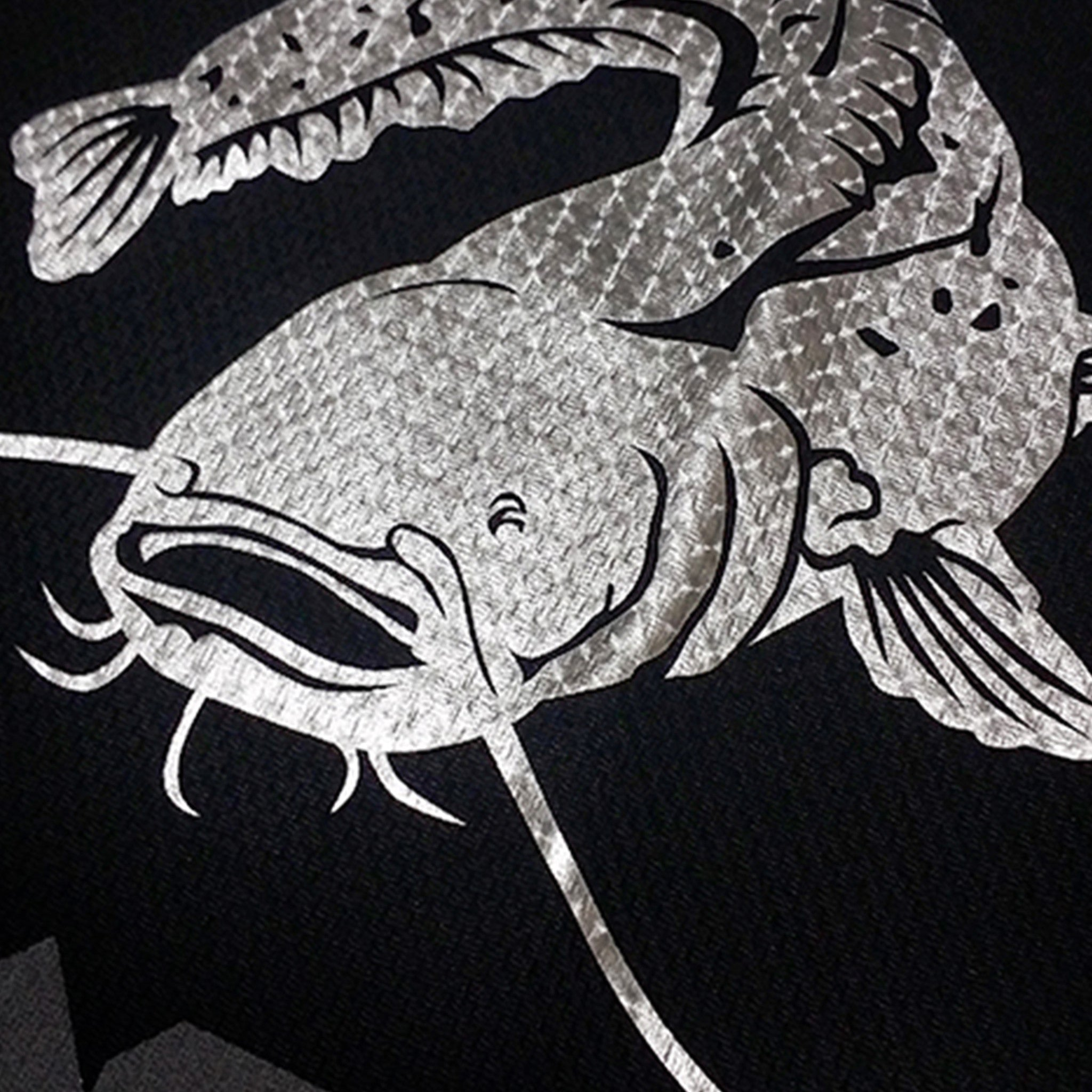 SportyFish Black Series black Long-sleeves t-shirt: Wels Catfish close-up view