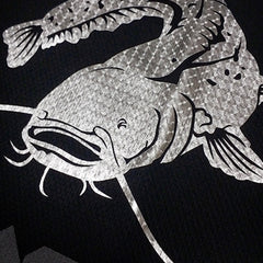 SportyFish Black Series black t-shirt: Wels Catfish close-up view 2