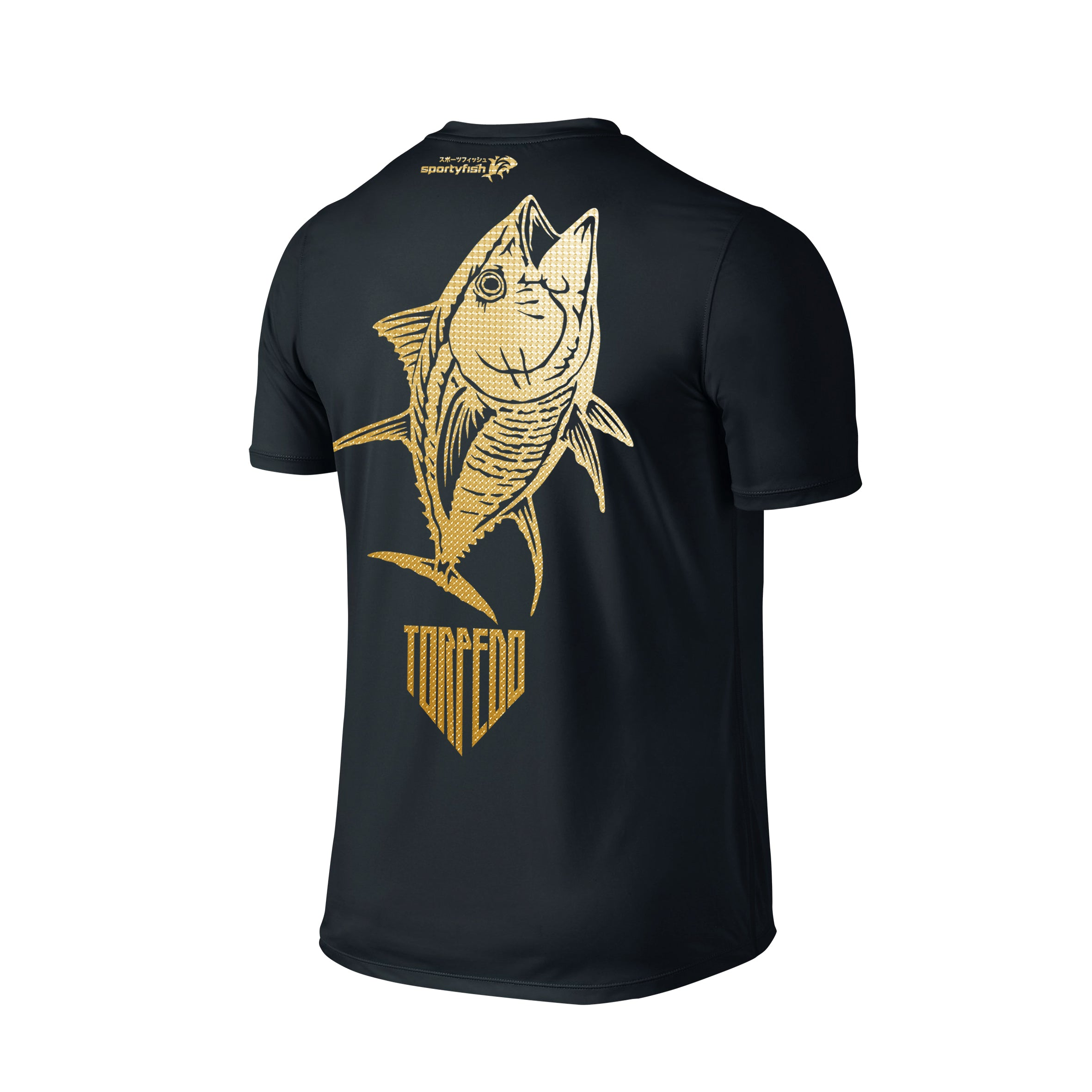 SportyFish Shield Series Classic Black T-shirt(back view) Gold Print: Yellowfin Tuna