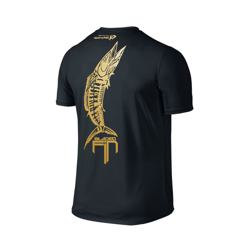SportyFish Shield Series Classic Black T-shirt(back view) Gold Print: Wahoo