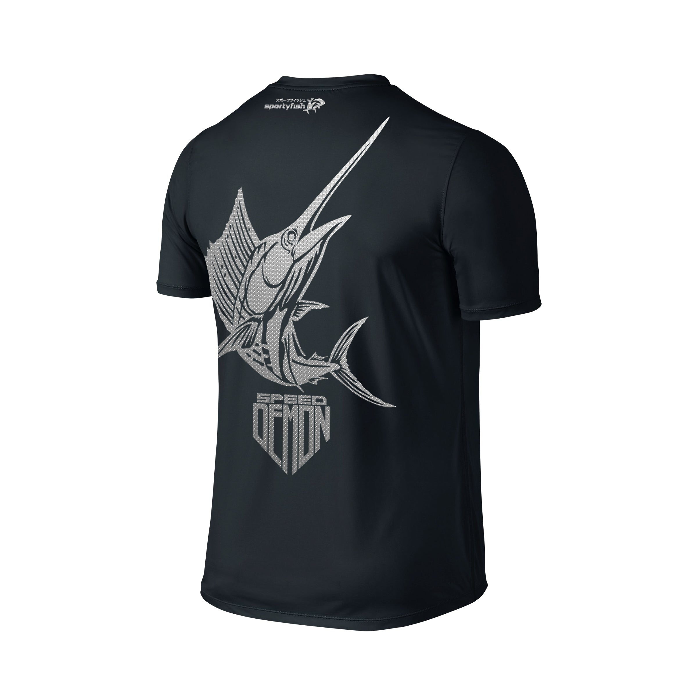 SportyFish Shield Series Classic Black T-shirt(back view) Silver Print: Atlantic Sailfish
