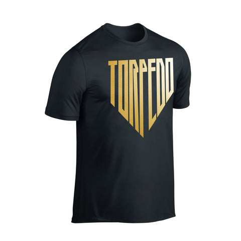 SportyFish Shield Series Classic Black T-shirt(front view) Gold Print: Yellowfin Tuna