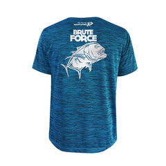 SportyFish Bold Series Turquoise T-shirt(back view): The Giant Trevally(Brute Force)