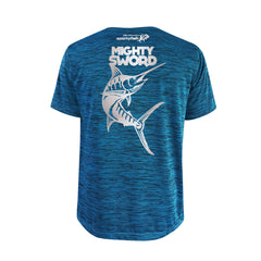 SportyFish Bold Series Turquoise T-shirt(back view): The Black Marlin(Mighty Sword)