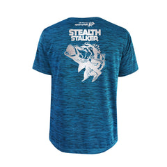 SportyFish Bold Series Turquoise T-shirt(back view): The Peacock Bass(Stealth Stalker)