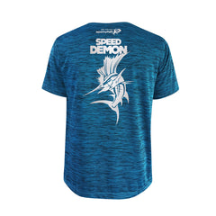 SportyFish Bold Series Turquoise T-shirt(back view): Atlantic Sailfish(Speed Demon)