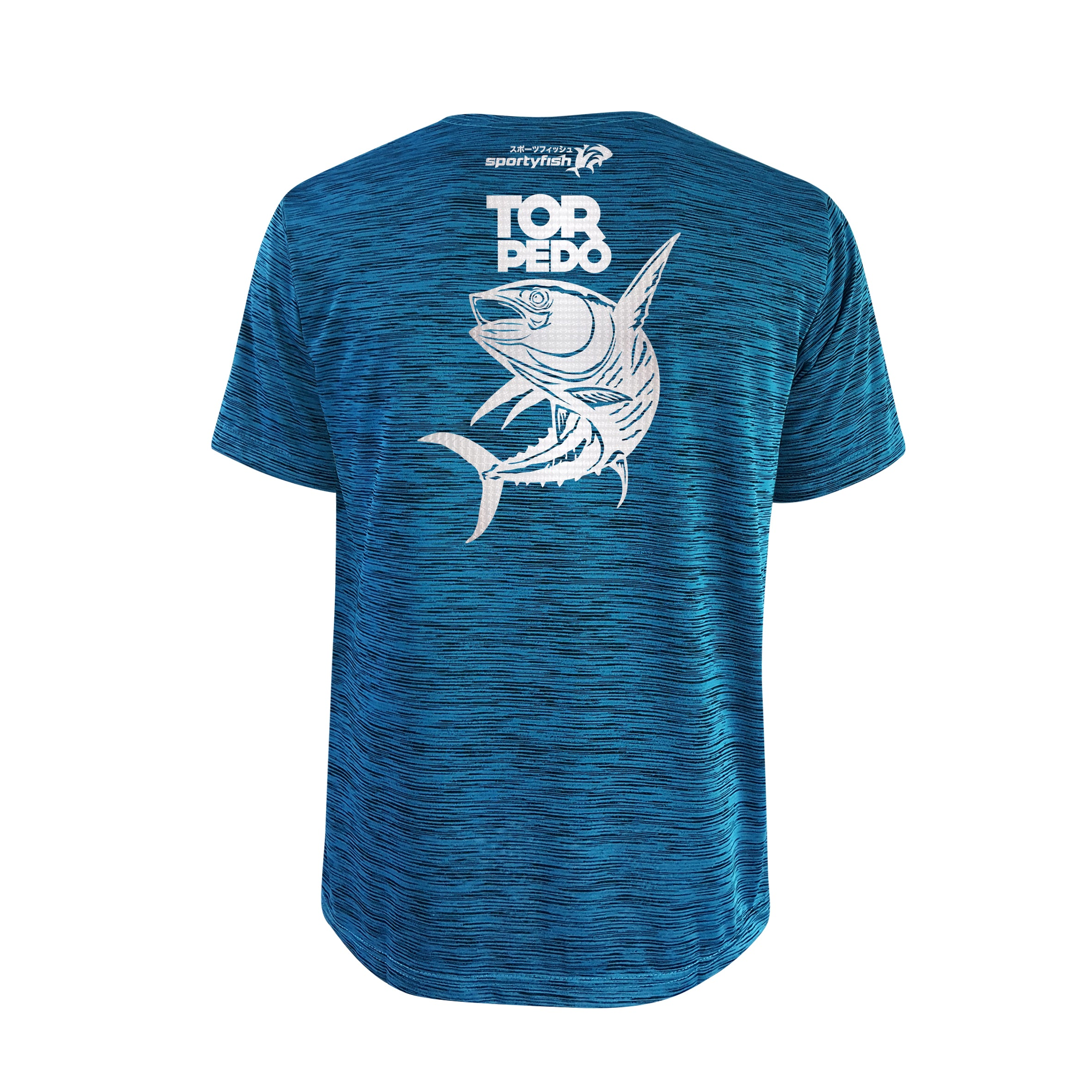 SportyFish Bold Series Turquoise T-shirt(back view): The Yellowfin Tuna(Torpedo)