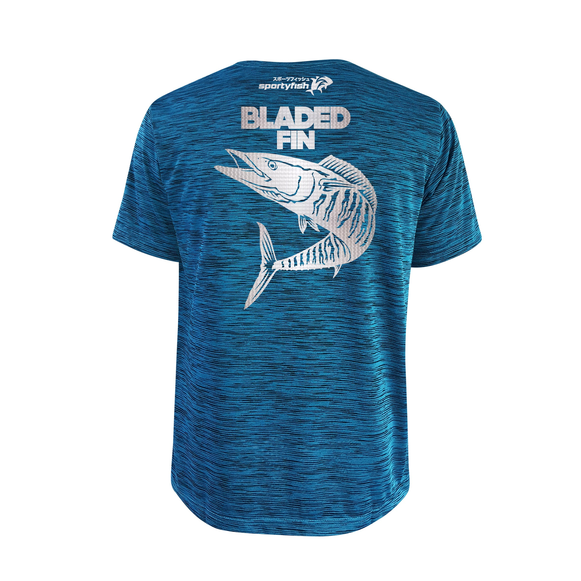 SportyFish Bold Series Turquoise T-shirt(back view): The Wahoo(Bladed Fins)