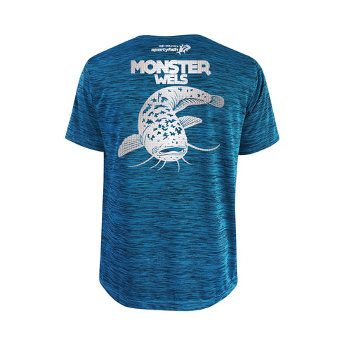 SportyFish Bold Series Turquoise T-shirt(back view): The Wels Catfish(Monster Wels)