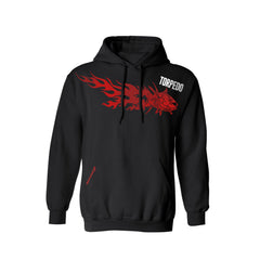 SportyFish Fury Series Black Hoodie(front view): Yellowfin Tuna