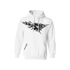 SportyFish Fury Series White Hoodie(front view): Black Marlin