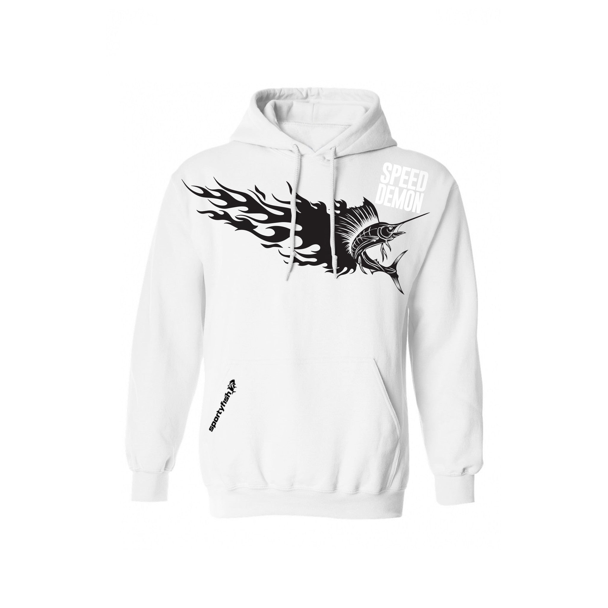 SportyFish Fury Series White Hoodie(front view): Atlantic Sailfish