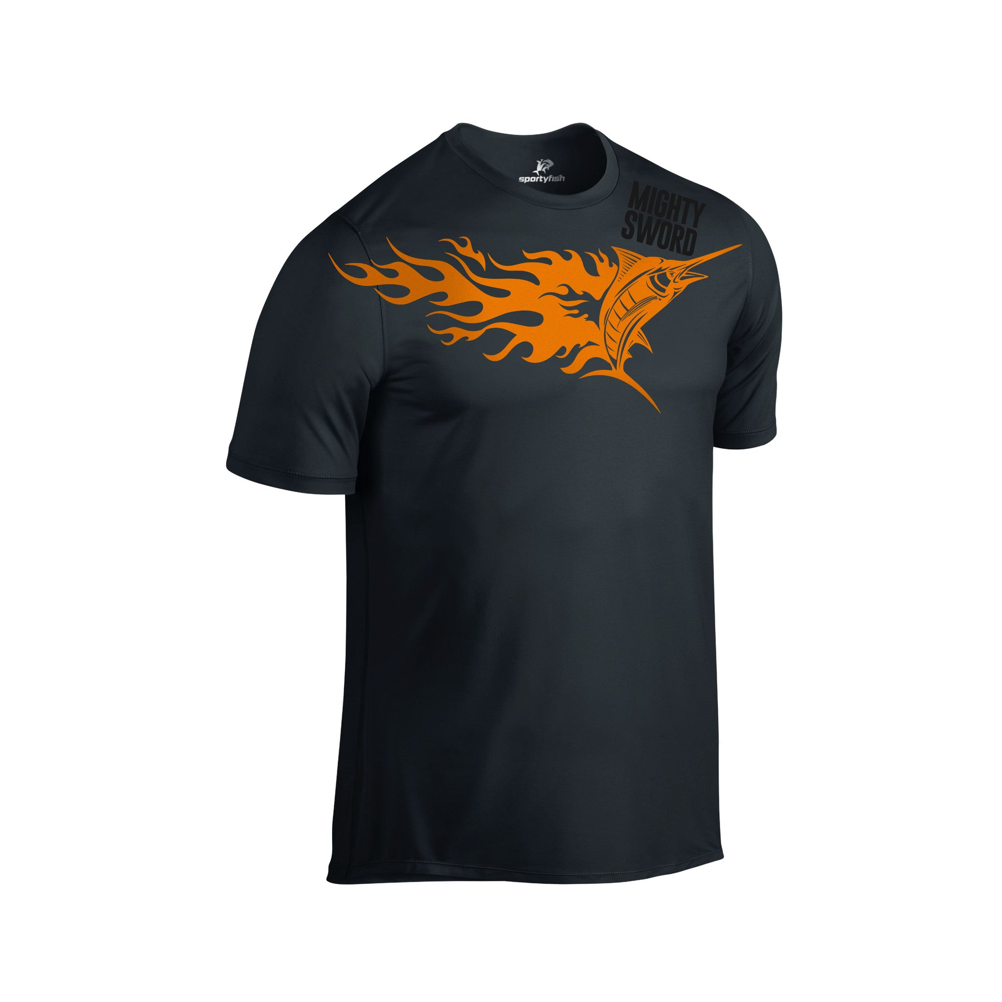 SportyFish Fury Series Black T-shirt(front view): Black Marlin