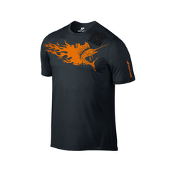 SportyFish Fury Series Black T-shirt: Atlantic Sailfish front view2