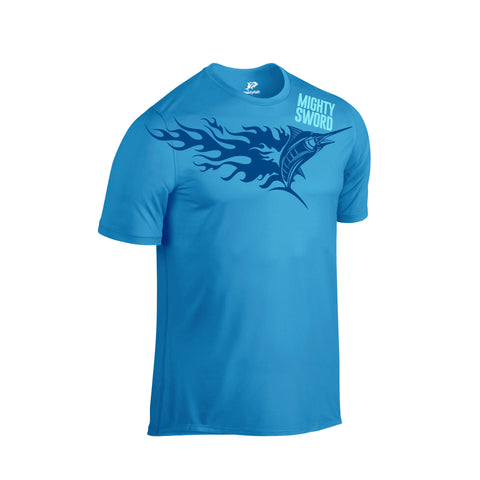 SportyFish Fury Series Turquoise T-shirt: Black Marlin front view