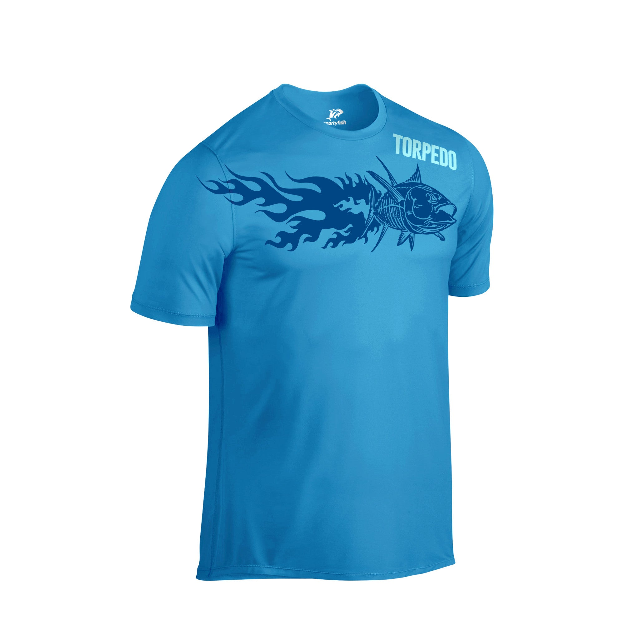 Black t shirt front view - Sportyfish Fury Series Turquoise T Shirt Yellowfin Tuna Front View