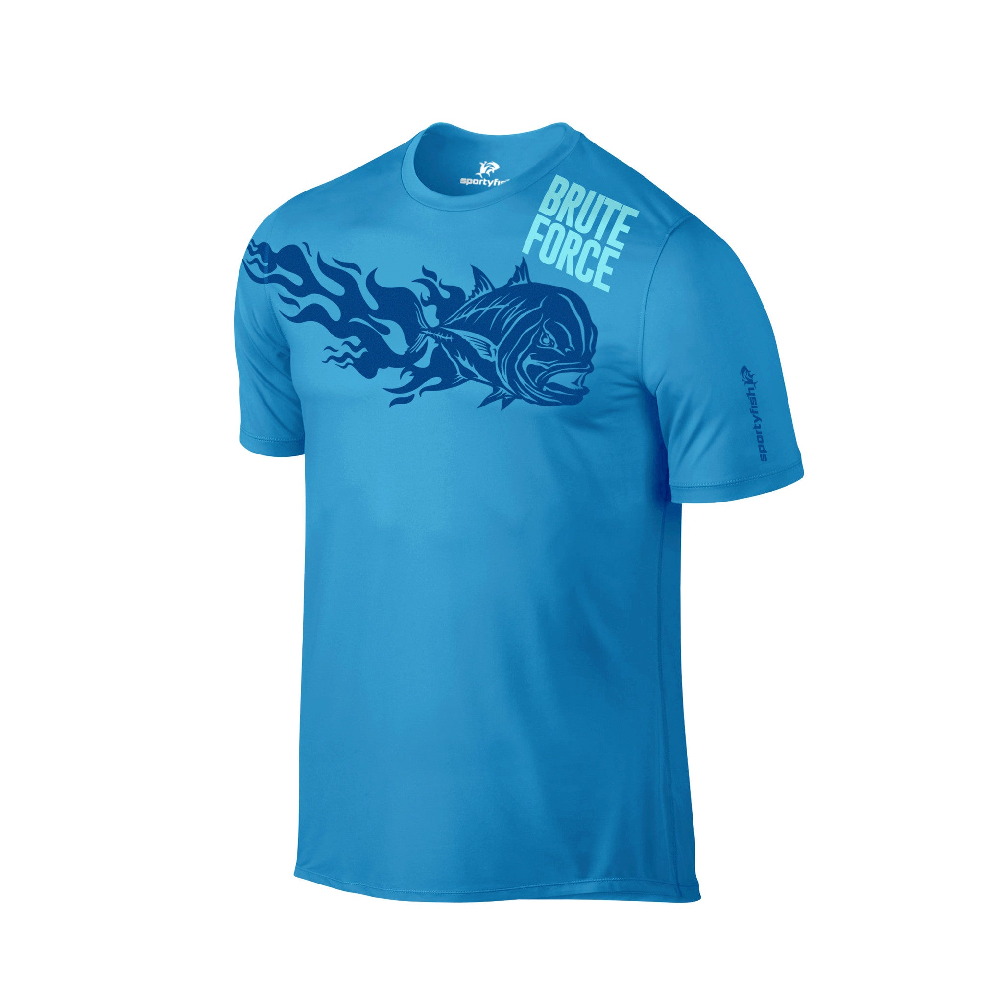 SportyFish Fury Series Turquoise T-shirt: Giant Trevally front view2