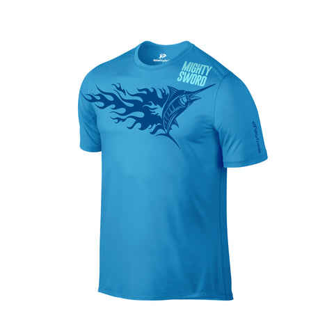SportyFish Fury Series Turquoise T-shirt: Black Marlin front view2
