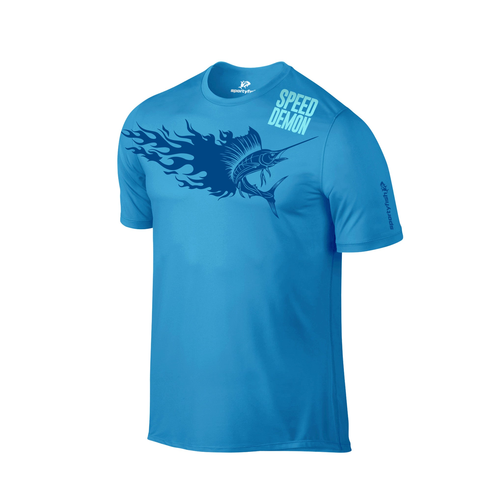 SportyFish Fury Series Turquoise T-shirt: Atlantic Sailfish front view2
