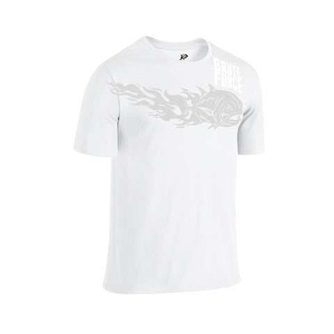 SportyFish Fury Series White T-shirt(front view): Giant Trevally