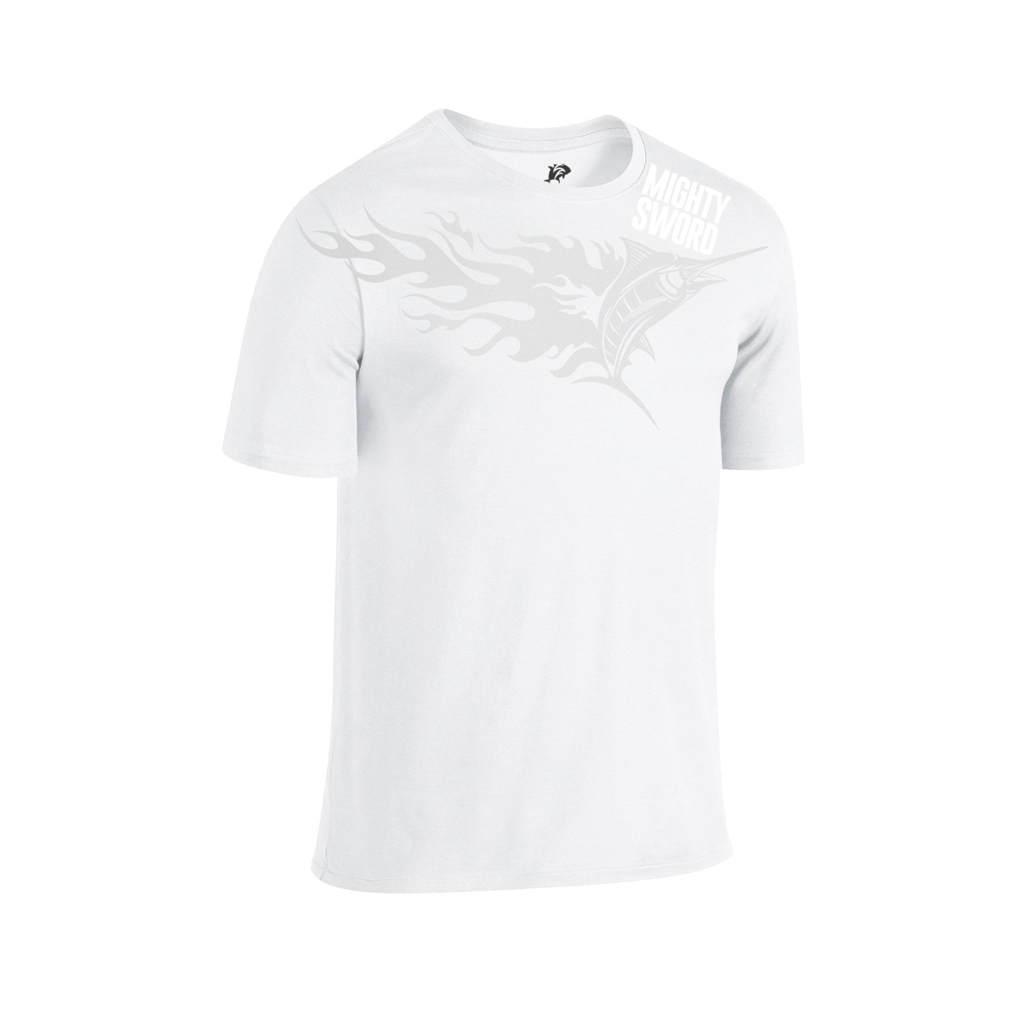 SportyFish Fury Series White T-shirt(front view): Black Marlin