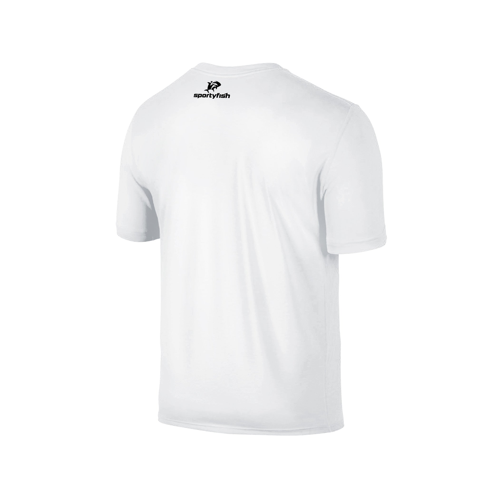 SportyFish Fury Series White T-shirt: Black Marlin back view