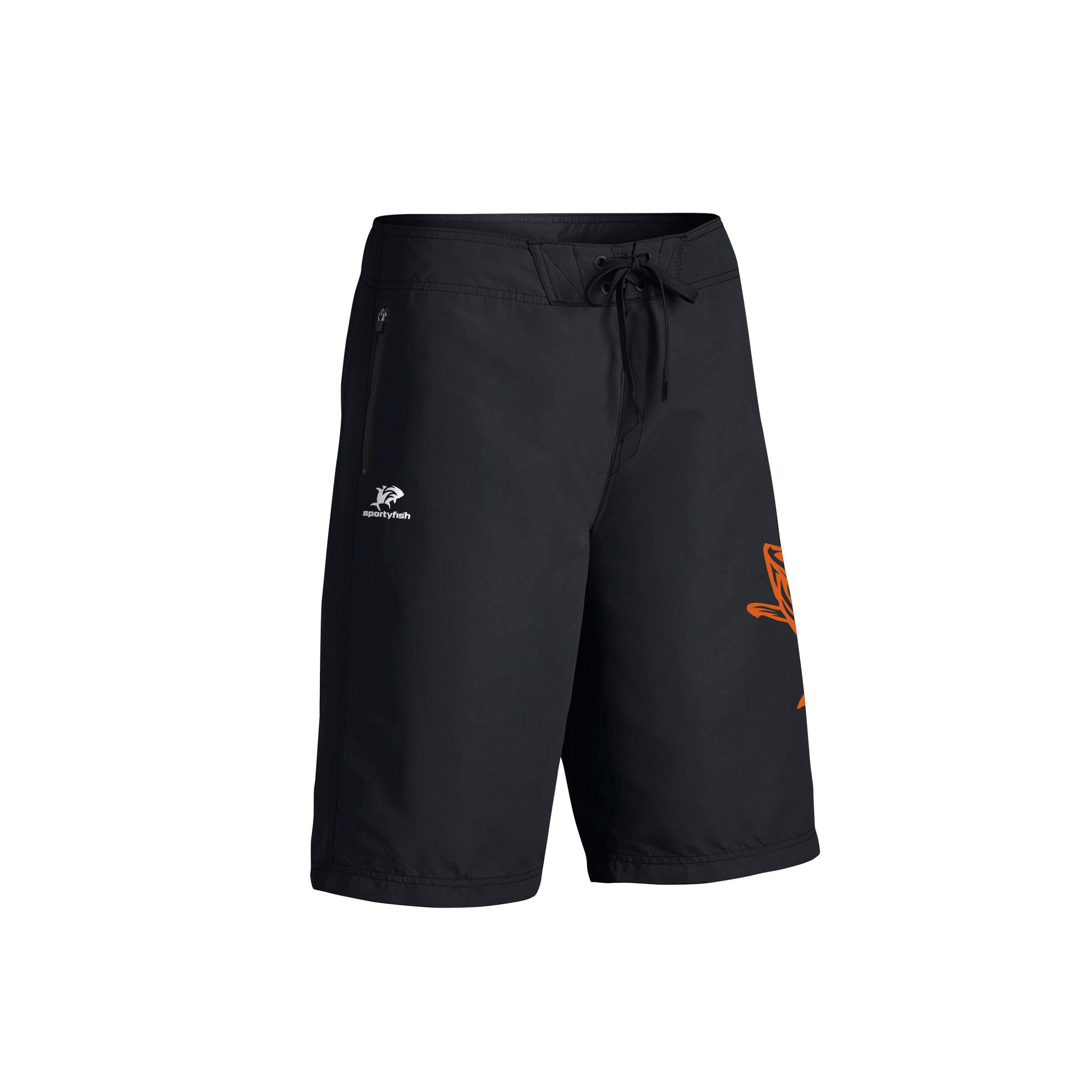 SportyFish Fury Series Board Shorts: Yellowfin Tuna front view2
