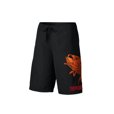 SportyFish Fury Series Board Shorts: Yellowfin Tuna front view