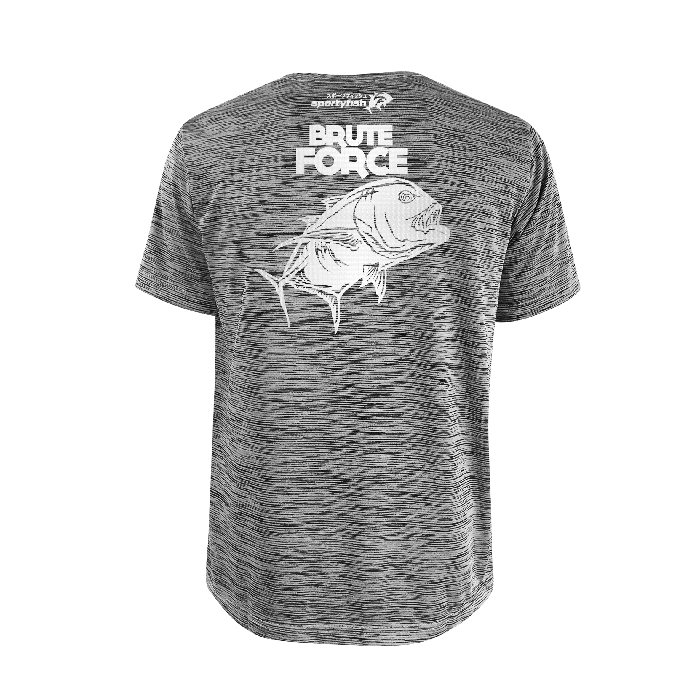 SportyFish Bold Series Grey T-shirt(back view): The Giant Trevally(Brute Force)