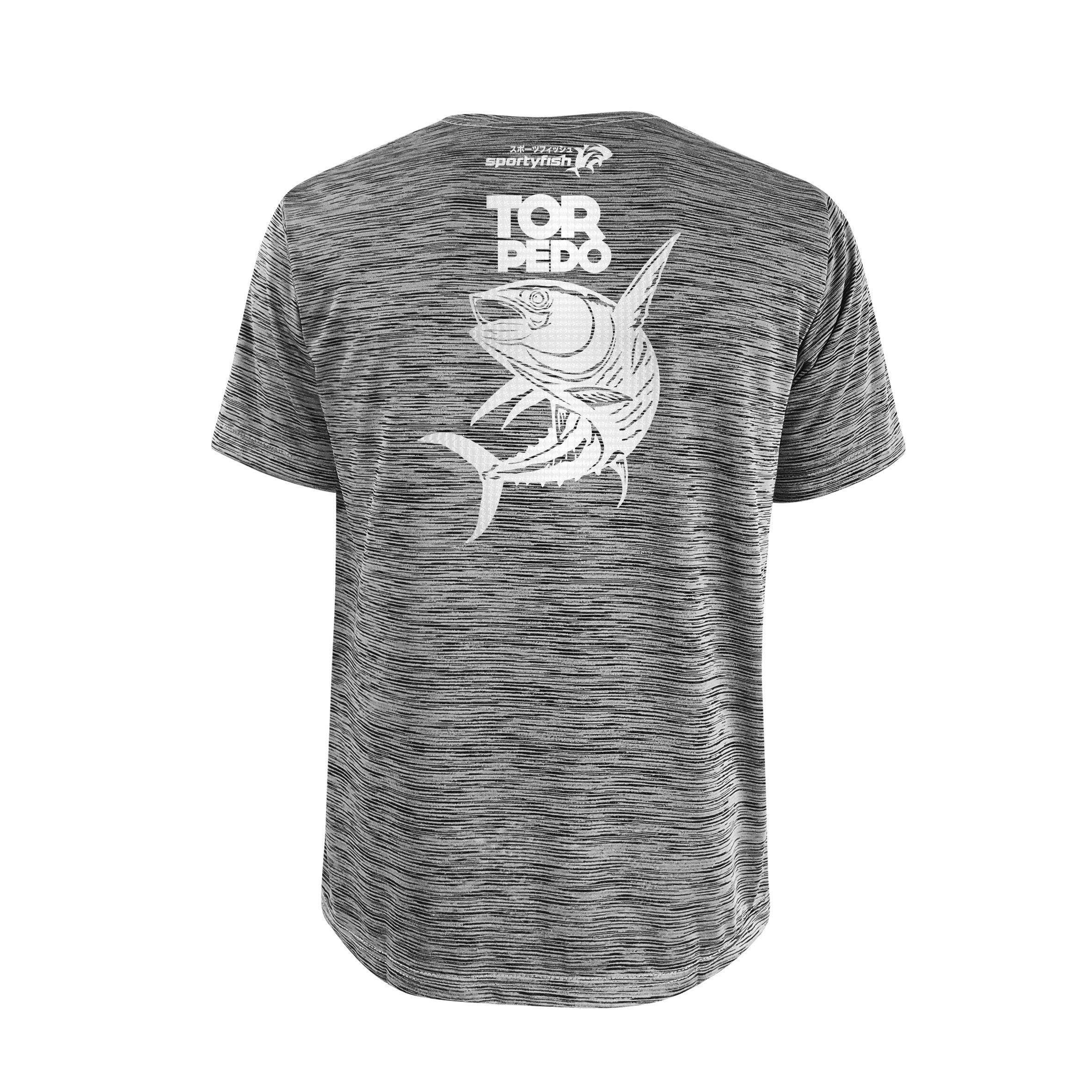 SportyFish Bold Series Grey T-shirt(back view): The Yellowfin Tuna(Torpedo)