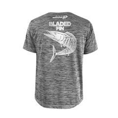SportyFish Bold Series Grey T-shirt(back view): The Wahoo(Bladed Fins)