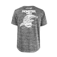 SportyFish Bold Series Grey T-shirt(back view): The Wels Catfish(Monster Wels)