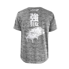 Bold Series Grey T-shirt(SS): The Giant Trevally(Brute Force)(In Japanese Words)