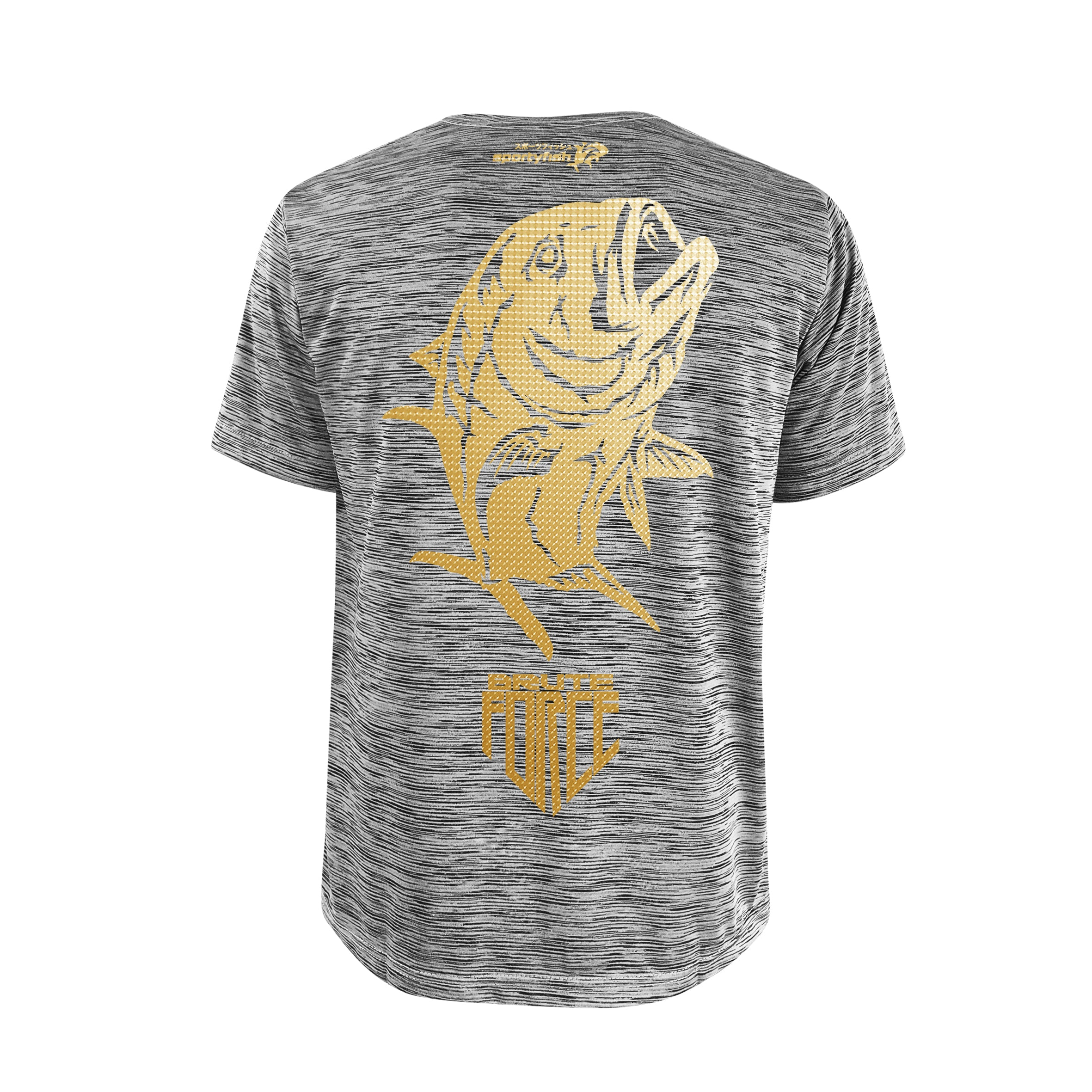 SportyFish Shield Series Grey T-shirt(back view) Gold Print: Giant Trevally