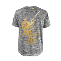 SportyFish Shield Series Grey T-shirt(back view) Gold Print: Yellowfin Tuna