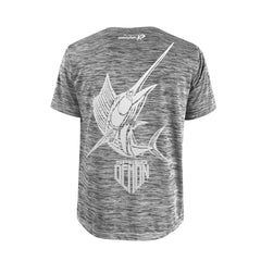 SportyFish Shield Series Grey T-shirt(back view) Silver Print: Atlantic Sailfish