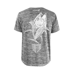 SportyFish Shield Series Grey T-shirt(back view) Silver Print: Yellowfin Tuna