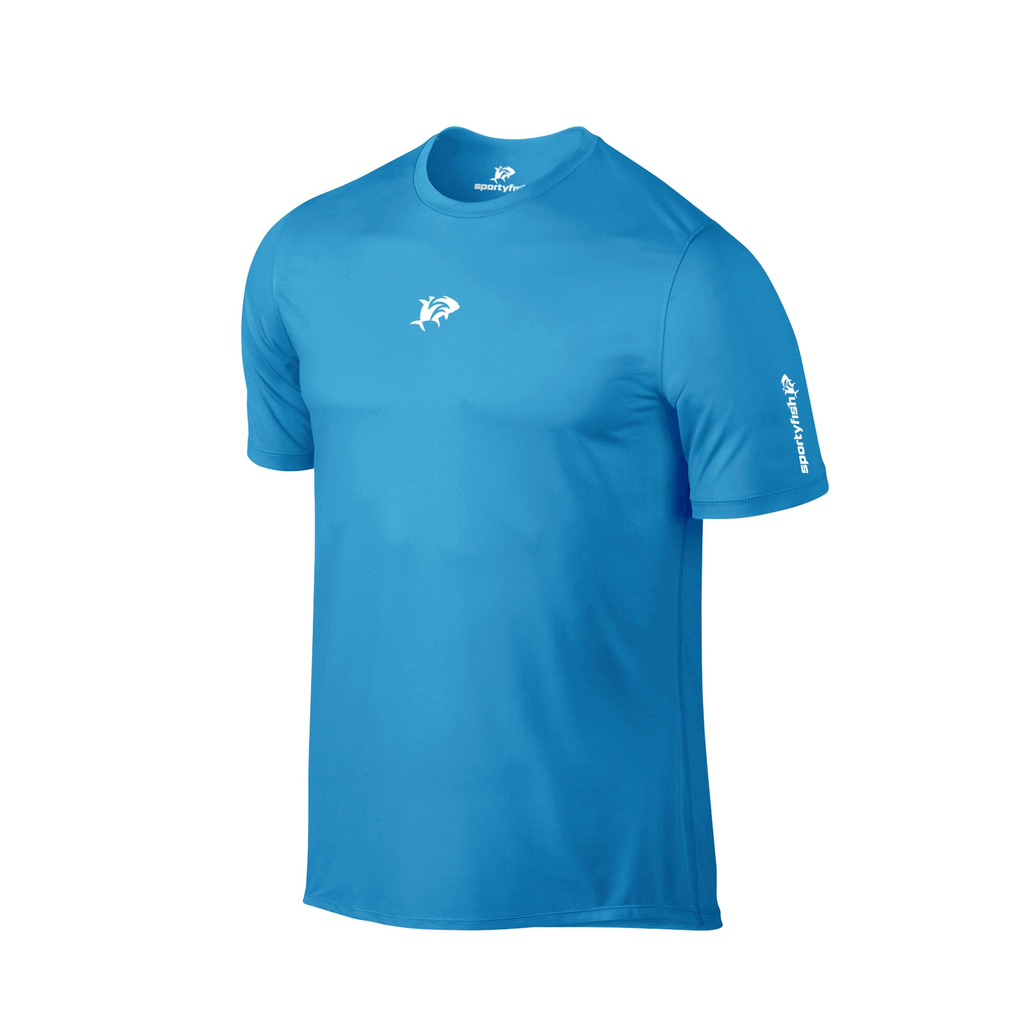 SportyFish Ink Series Turquoise T-shirt: Black Marlin and Yellowfin Tuna front view
