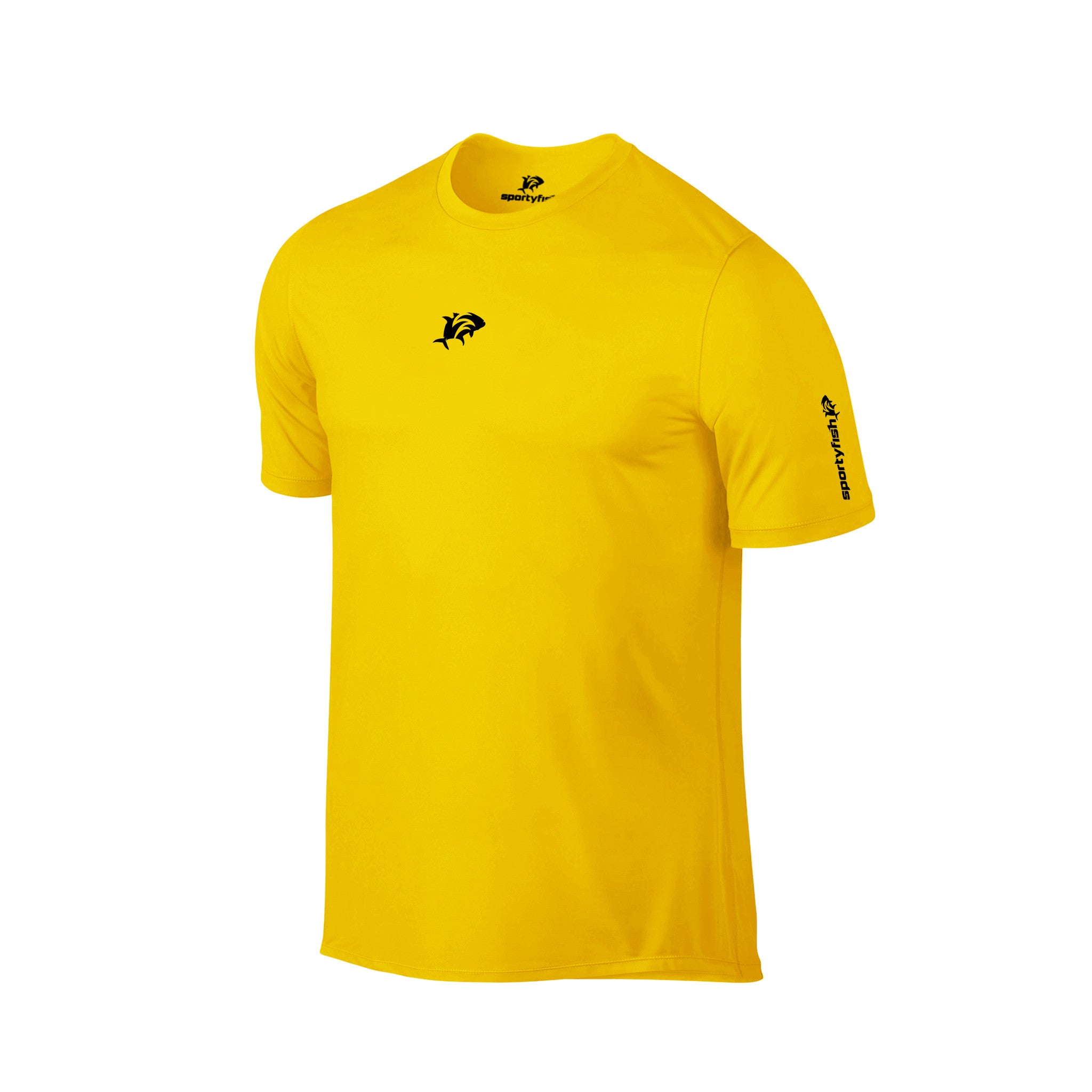 SportyFish Ink Series Yellow T-shirt: Black Marlin and Yellowfin Tuna front view